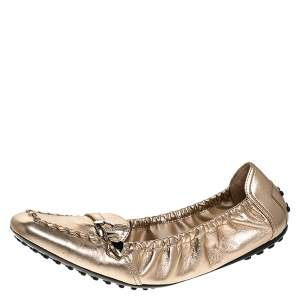 Tod's Metallic Gold Foil Leather Buckle Detail Loafer Scrunch Ballet Flats Size 39.5