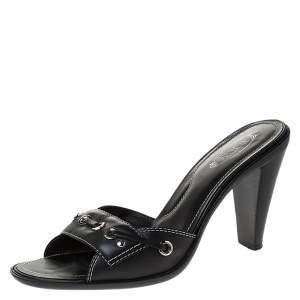 Tod's Black Leather Slide Sandals Size 38