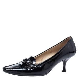 حذاء كعب عالي تودز جلد أسود لامع كعب كيتن مقاس 38.5