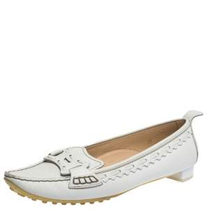 Tod's White Leather Pointed Toe Slip On Loafers Size 39