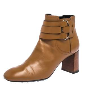 Tod's Brown Leather Buckle Detail Ankle Booties Size 39