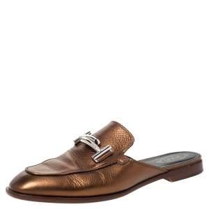 حذاء سلايد تودز جلد برونزي ميتاليك دوبل تي مقاس 37.5