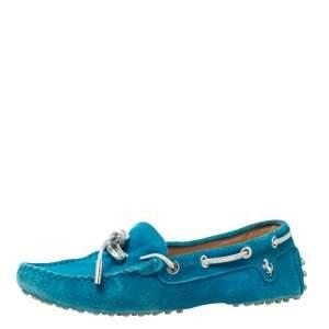 حذاء لوفرز تودز فور فيراري فيونكة سويدي أزرق مخضر مقاس 35.5