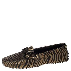 Tod's Metallic Gold Zebra Print Suede Gommino Driving Loafers Size 37