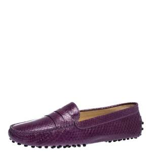 Tod's Purple Python Penny Loafers Size 36.5