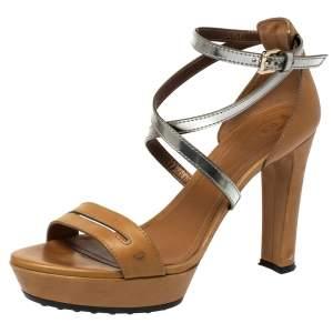 Tod's Light Brown/Metallic Leather Criss Cross Platform Sandals Size 40