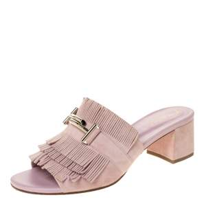 Tod's Powder Pink Suede Double-T Fringe Slide Mules Size 38.5