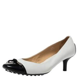 Tod's White Leather And Black Patent Cap Toe Bow Pumps Size 39.5
