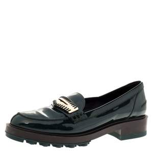 Tod's Green Patent Leather Whip Stitch Detail Platform Penny Loafers Size 36.5