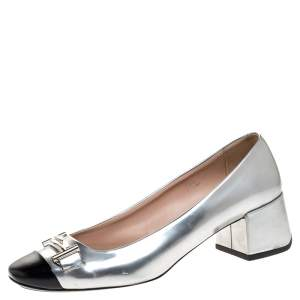Tod's Silver/Black Foil Leather And Leather Cap Toe Block Heel Pumps Size 39.5