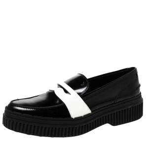 Tod's Black/White Leather And Patent Platform Penny Loafers Size 38