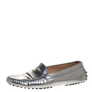 Tod's Metallic Silver Leather Penny Slip On Loafers Size 38