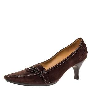 Tod's Brown Suede Leather Buckle Detail Pumps Size 37