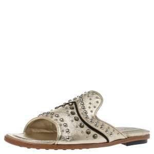 حذاء فلات تودز ذهبي ميتاليك مرصع  ومزين بالكريستال مقاس 37