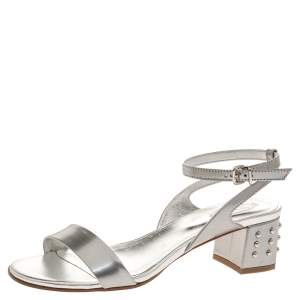 Tod's Silver Leather Studded Heel Ankle Strap Sandals Size 38.5