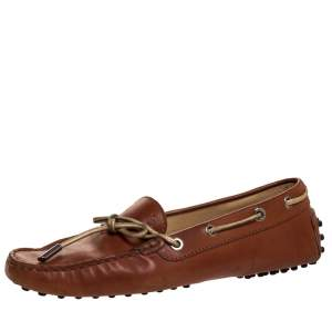 Tod's Brown Leather Bow Slip On Loafers Size 37.5