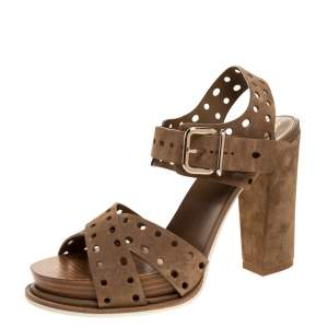 Tod's Brown Suede Leather Block Heel Ankle Strap Sandals Size 40