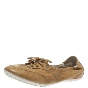 Tod's Tan Leather Lace Up Scrunch Low Top Sneakers Size 39