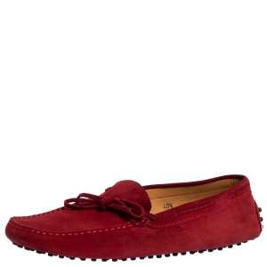 Tod's For Ferrari Red Suede Bow Slip On Loafers Size 40.5