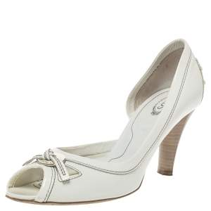 Tod's White Patent Leather D'orsay Peep Toe Pumps Size 38