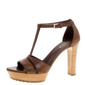 Tod's Brown Leather T-strap Platform Ankle Strap Sandals Size 37.5