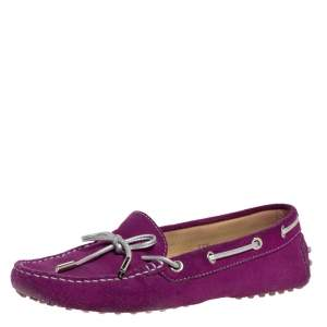 Tod's Fuschia Pink Suede Leather Bow Slip On Loafers Size 37.5