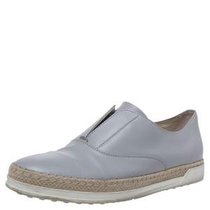 Tod's Grey Leather Francesina Espadrille Slip On Sneakers Size 37