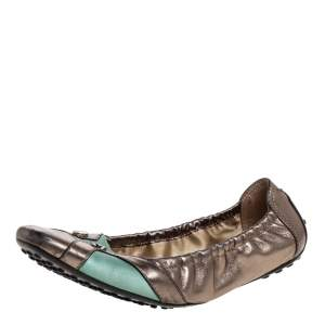 Tod's Metallic/Green Leather Scrunch Ballet Flats Size 38.5