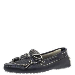 Tod's Blue Leather Bow Fringe Detail Slip On Loafers Size 36