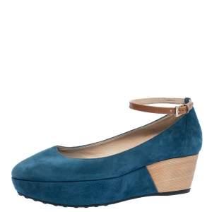 Tod's Blue Suede Ankle Strap Platform Wedge Pumps Size 38.5