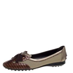 Tod's Multicolor Leather, Fabric And Lizard Embossed Leather Lace Bow Ballet Flats Size 38.5