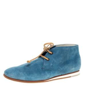 Tod's Blue Suede Desert Ankle Boots Size 39