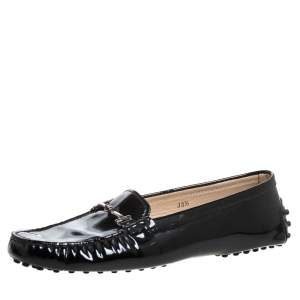 Tod's Black Patent Leather Double T Loafers Size 38.5