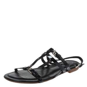 Tod's Black Patent Leather Strappy Buckle Detail Flat Sandals Size 37.5