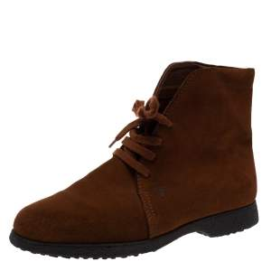 Tod's Brown Suede Desert Lace Up Ankle Boots Size 37