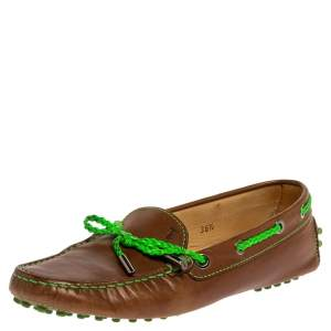 Tod's Brown/Green Leather Braided Bow Loafers Size 36.5