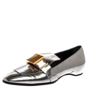 Tod's Metallic Silver Leather Slip On Loafers Size 38