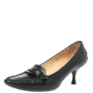 Tod's Black Leather Pointed Toe Penny Loafer Pumps Size 36