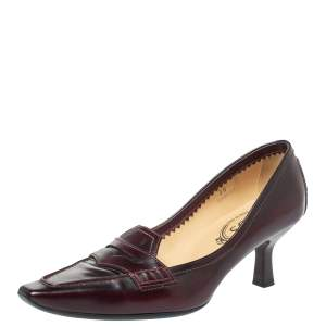 Tod's Burgundy Leather Pointed Toe Penny Loafer Pumps Size 36