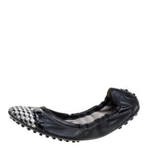Tod's Black Leather Cap Toe Buckle Detail Scrunch Ballet Flats Size 38