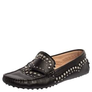 Tod's Black Leather Crystal Embellished Gommino Loafers Size 39