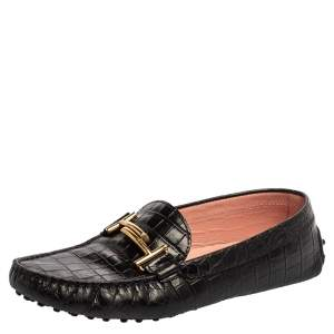 Tod's Black Croc Embossed Leather Gommino Double T Buckle Driver Loafers Size 39