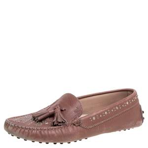 Tod's Blush Pink Leather Tassel Embellished Loafers Size 39