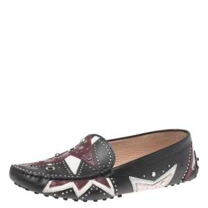Tod's Black Leather Patchwork Embellished Loafers Size 39