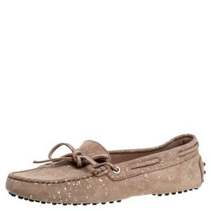 Tod's Beige Suede Glitter And Bow Detail Driving Loafers Size 39
