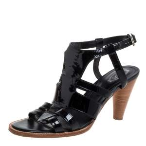 Tod's Black Patent Leather Sandals Size 39.5