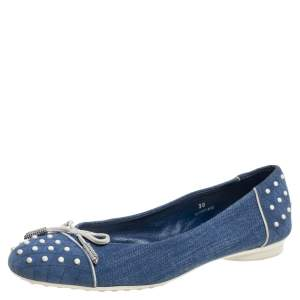 Tod's Blue Denim Fabric Studded Bow Cap Toe  Ballet Flats Size 38