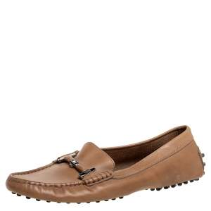 Tod's Brown Leather Slip On Loafers Size 38.5