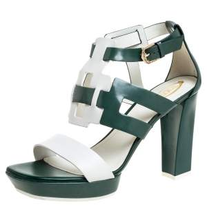 Tod's Green/White Cut Out Ankle Strap Open Toe Sandals Size 40