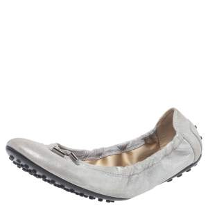 Tod's Silver Shimmer Suede Scrunch Ballerina Bow Flats Size 40